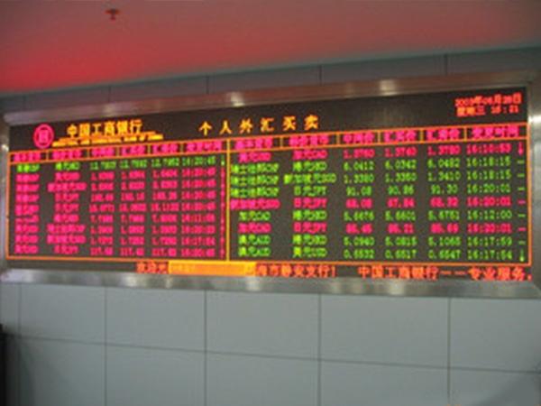 银行汇率LED显示屏